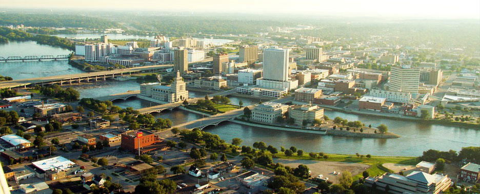 Birds eye view of downtown Cedar Rapids, Iowa