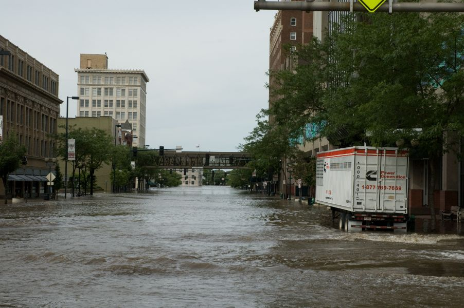 First avenue in Cedar Rapids under water during the June 2008 flood