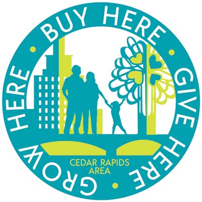Buy Here, Give Here, Grow Here Cedar Rapids Area Logo